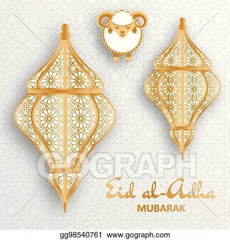Vector illustration eid al adha background islamic arabic lantern eid al adha background islamic arabic lantern and sheep greeting card m4hsunfo
