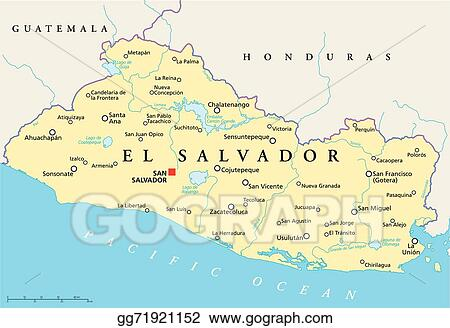 Eps Illustration El Salvador Political Map Vector Clipart