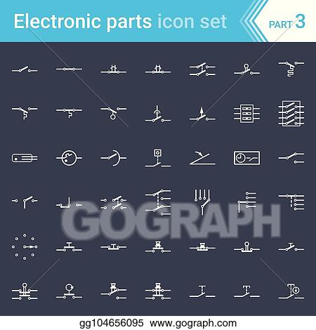 vector illustration electric and electronic icons, electricelectric and electronic icons, electric diagram symbols switches, pushbuttons and circuit switches