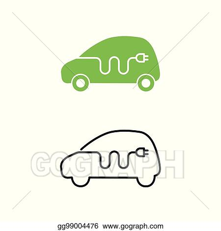 Eps Illustration Electric Car With Electrical Charging Cable Icon
