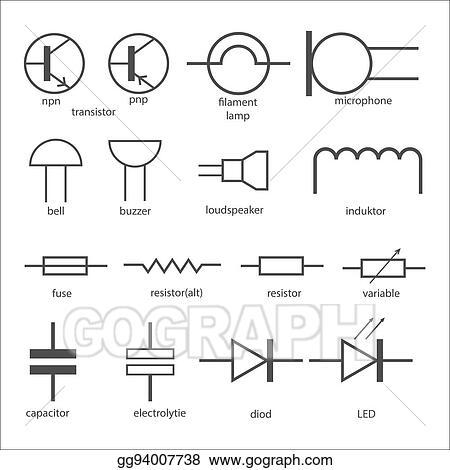 Vector Illustration Electric Circuit Symbols Eps Clipart Gg94007738 Gograph