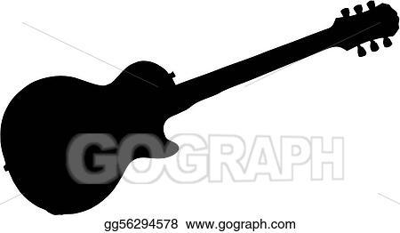 vector illustration electric guitar silhouette stock clip art