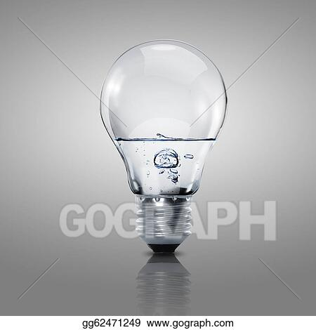 Drawings - Electric light bulb with clean water  Stock