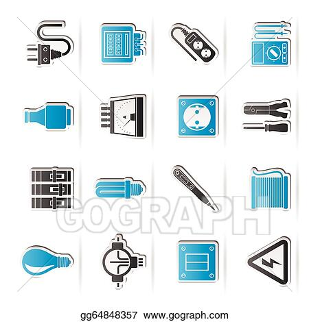 Vector Clipart Electrical Devices Icons Vector Illustration