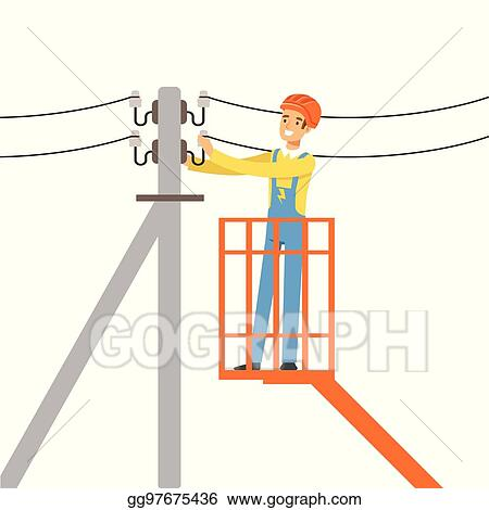 Vector Art - Electrician repairing wire of the power line with ...