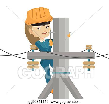 Vector Stock - Electrician working on electric power pole