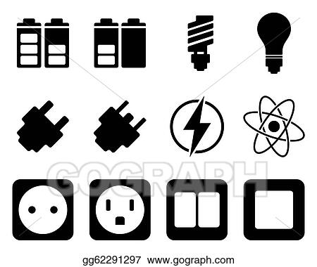 vector art electricity and energy icon set eps clipart gg62291297 gograph gograph