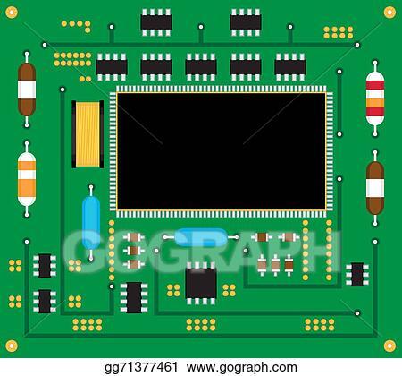vector clipart electronic circuit board vector illustration rh gograph com Electronic Symbols Clip Art Electronic Board Clip Art