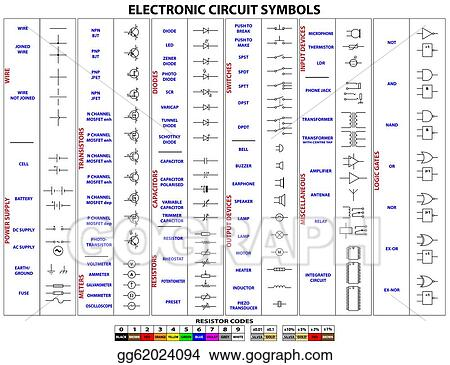Vector Illustration Electronic Circuit Symbols Eps Clipart