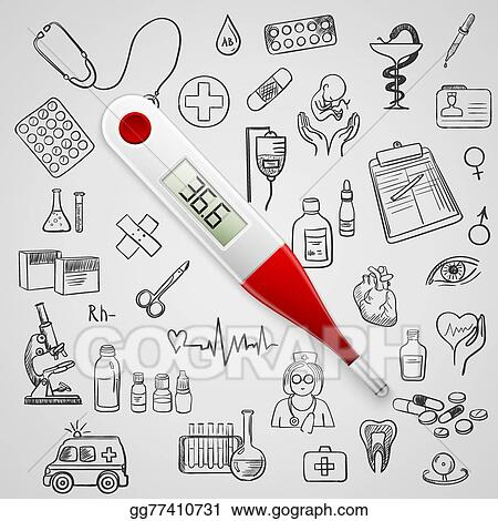 Vector Stock - Electronic thermometer and hand draw medicine icon ...