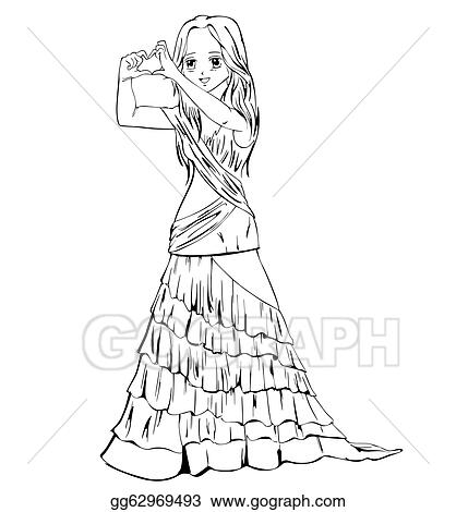 Vector Stock Elegant Anime Girl In Evening Dress Stock Clip Art