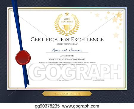vector illustration elegant certificate template for excellence