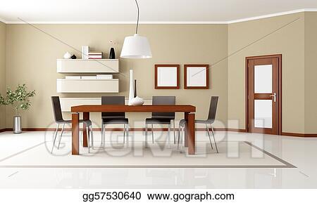 Clip Art Elegant Modern Dining Room Stock Illustration Gg57530640 Gograph