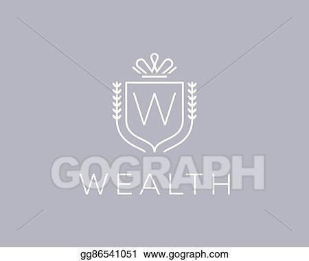 Vector Clipart Elegant Monogram Letter W Logotype Premium Crest