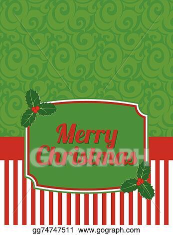 Christmas Notecard.Vector Clipart Elegant Striped Christmas Notecard Vector