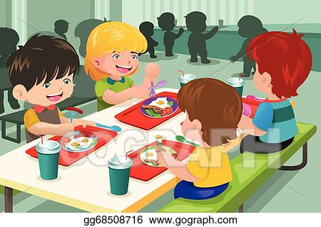 Vector Illustration - Elementary students eating lunch in ...