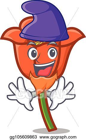 Eps Vector Elf Poppy Flower Character Cartoon Stock Clipart