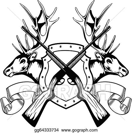 vector illustration elk heads and crossed rifle eps clipart 18th Century Powder Horns elk heads and crossed rifle