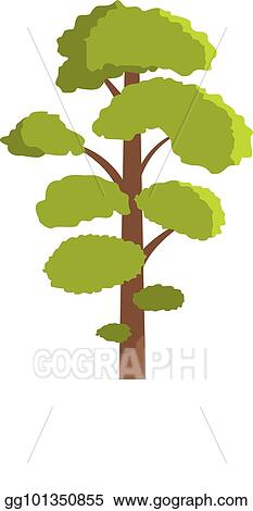 Eps Illustration Elm Tree Icon Flat Style Vector Clipart