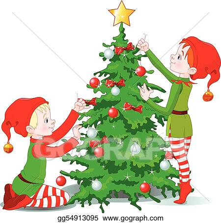 Elves decorate a Christmas Tree - Vector Art - Elves Decorate A Christmas Tree. Clipart Drawing