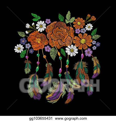 Embroidery boho native american indian feathers flowers arrangement. Clothes ethnic tribal fashion design decoration patch.
