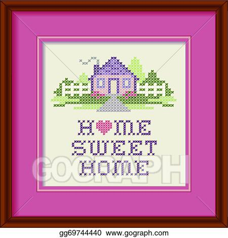 Eps Illustration Embroidery Frame Home Sweet Home Vector