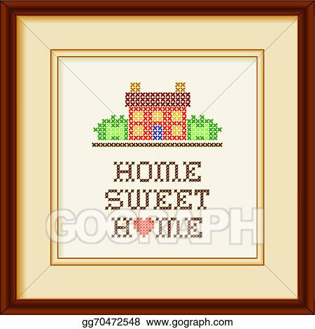 Vector Clipart Embroidery Home Sweet Home Frame Vector