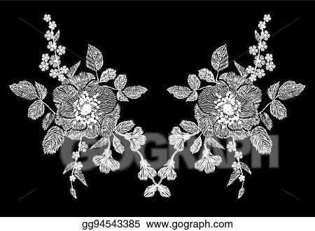 Vector Clipart Embroidery White Floral Pattern With Poppy And