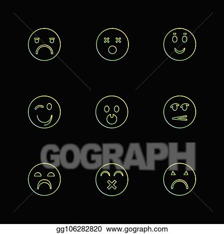 Vector Clipart - Emoji, emoticons, eomtions, smileys, eps icons set