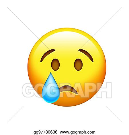 Stock Illustration Emoji Yellow Sad Face With Drop Of Blue Crying