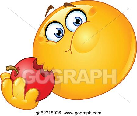 Vector Illustration Emoticon Eating Apple Eps Clipart