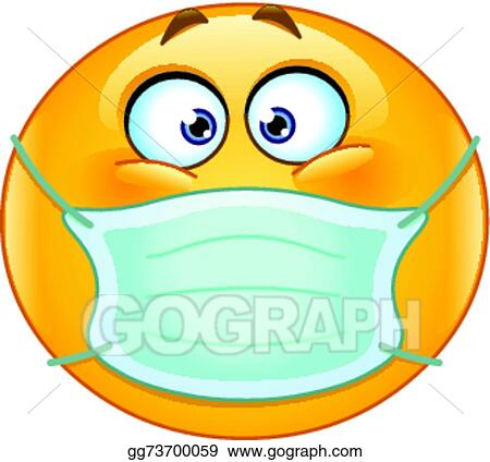 Eps Illustration Emoticon With Medical Mask Vector Clipart