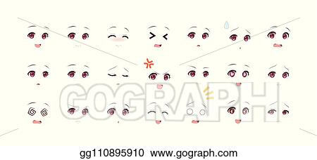 Vector Art Emotions Red Eyes Of Anime And Manga Girls Clipart