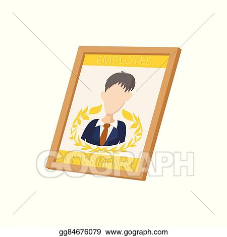 Vector Stock - Employee of the month icon, cartoon style. Stock Clip ...