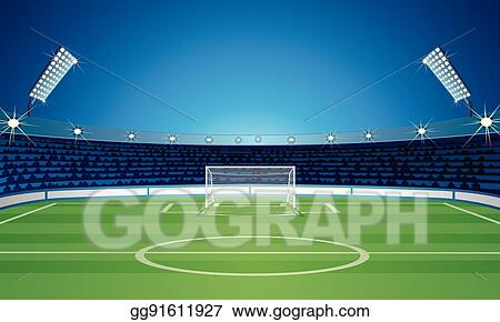 vector clipart empty backdrop template with soccer field stadium