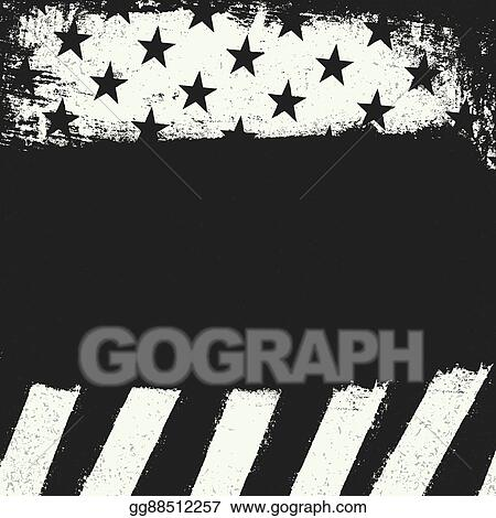 dabac2b01364 Empty black grunge copy space on black and white negative american flag  background. Patriotic design template.