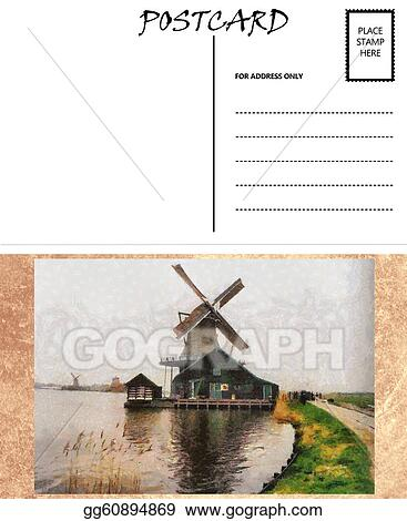 drawings empty blank postcard template dutch windmill image
