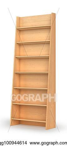 Empty Bookshelf On The White Background 3d Illustration