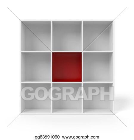 Empty Bookshelf With Red Segment