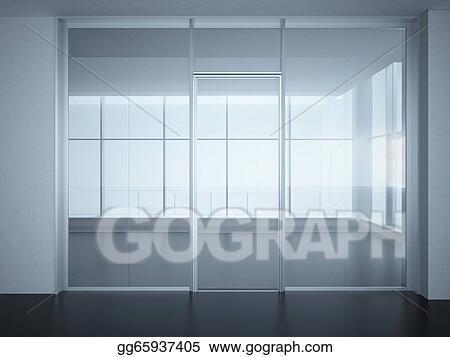 Stock Illustration - Empty office room with glass walls and doors ...