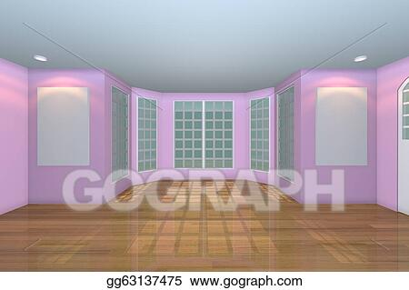 Empty Pink Living Room