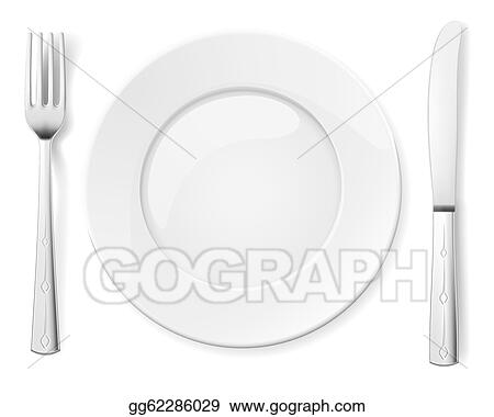 Vector Illustration Empty Plate With Knife And Fork Eps Clipart
