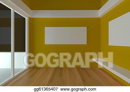 Stock Illustration Empty Room Interior Design For Living