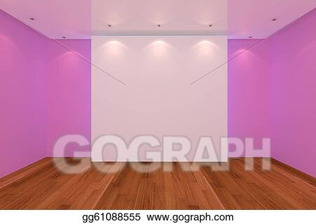 Stock Illustration Empty Room Pink Wall And Wood Floor Clipart