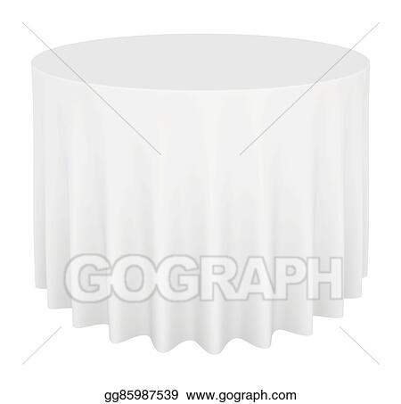 Drawing Empty Round Table With Tablecloth Isolated On