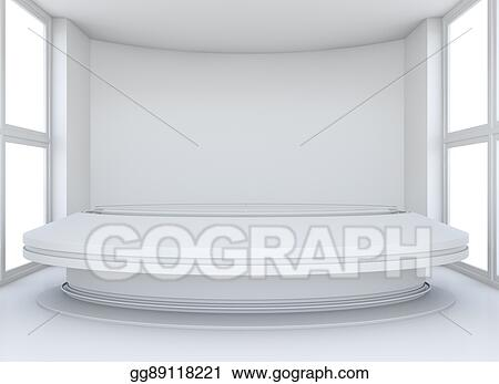Remarkable Drawings Empty Showroom With Circle Table For Exhibit Download Free Architecture Designs Scobabritishbridgeorg