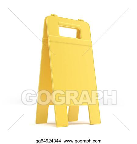 Empty Wet Floor Sign Stock Clipart