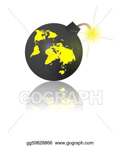 Clipart Bombe stock illustration - end of the world. bomb with earth map. clipart