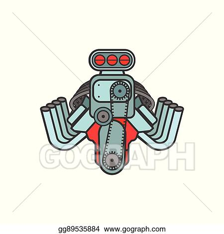 Vector Illustration Engine Hot Rod Muscle Sport Car Speedster Icon