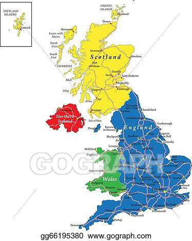 Eps Vector England Scotland Wales Map Stock Clipart